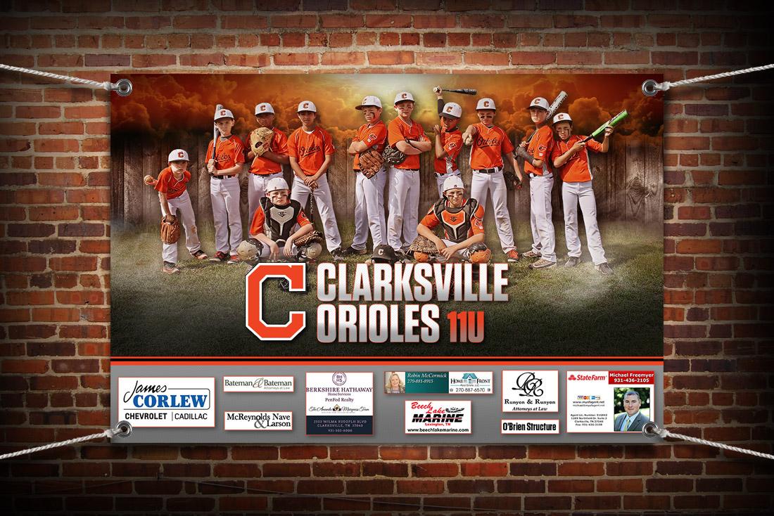 Clarksville Orioles dugout banner