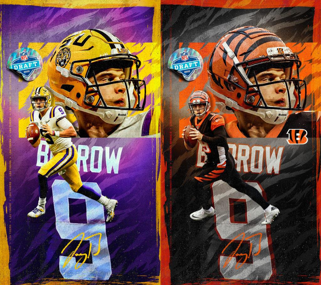 Joe Burrow draft wallpapers side by side